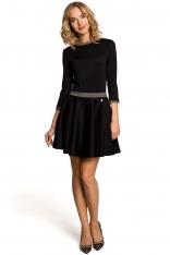 Czarna Rozkloszowana Sukienka z Wstawkami w Pepitkę