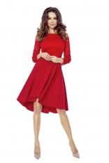 Czerwona Sukienka Rozkloszowana Asymetryczna z Koronkową Górą