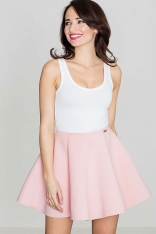 Różowa Efektowna Kloszowana Spódnica Mini