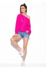 Różowy Oversizowy Sweter z Ażurem