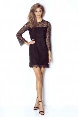 Czarna Wizytowa Trapezowa Sukienka Koronkowa z Dzwonkowym Rękawem