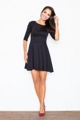 Czarna Elegancka Sukienka z Rozkloszowanym Dołem