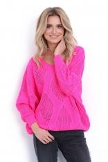 Różowy Ażurowy Sweter z Dekoltem V z Przodu i na Plecach
