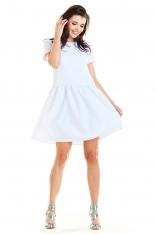 Biała Letnia Sukienka z Marszczonym Dołem