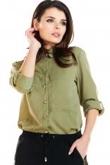 Khaki Klasyczna Koszula Zapinana na Złote Guziki
