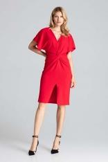 Czerwona Elegancka Sukienka Midi z Zakładanym Dekoltem
