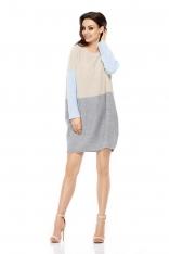Beżowy Jasnoszary Luźny Trójkolorowy Sweter Sukienka