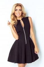 Czarna Sukienka Rozkloszowana z Suwakiem bez Rękawów