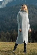 Szary Długi Kopertowy Sweter z Golfem