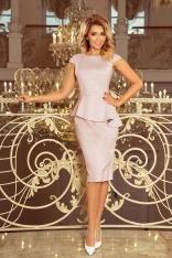 Elegancka Ołówkowa Sukienka Midi z Asymetryczną Baskinką - Brudny Róż