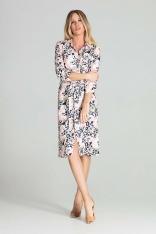 Sukienka Koszulowa z Podpinanym Rękawem - Wzór 112