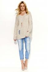 Beżowy Sweter Dłuższy Melanżowy z Dziurami
