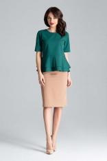 Zielona Elegancka Bluzka z Podwójną Baskinką