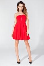 Czerwona Dzianinowa Sukienka z Odkrytymi Ramionami z Suwakiem