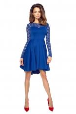 Chabrowa Ultrakobieca Sukienka z Koronkową Górą