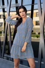 Niebieska Sukienka w Kwiatki z Falbankami