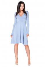 Niebieska Sukienka Rozkloszowana Midi z Dekoltem w Szpic