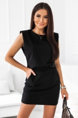 Komplet Dresowy Bluzka + Mini Spódniczka - Czarny