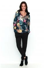 Komplet Wzorzysta Bluza + Czarne Spodnie z Lampasem