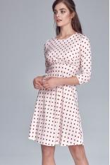 Kremowa Rozkloszowana Sukienka w Grochy Odcinana pod Biustem