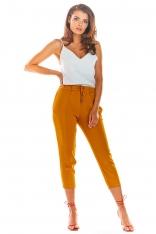 Kamelowe Stylowe Spodnie z Troczkami