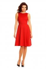 Czerwona Elegancka Sukienka przed Kolana Wycięciem na Plecach