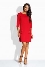 Czerwona Casualowa Sukienka z Ozdobnymi Guzikami