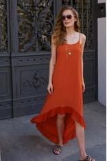 Długa Asymetryczna Sukienka na Ramiączkach - Pomarańczowa