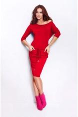 Czerwona Sukienka Ściągana
