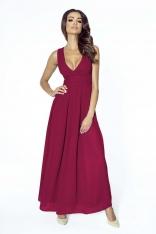Bordowa Elegancka Wieczorowa Sukienka Maxi z Kopertowym Dekoltem