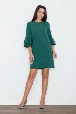 Zielona Elegancka Sukienka z Hiszpańskim Rękawem