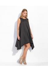 Czarna Asymetryczna Szeroka Sukienka bez Rękawów