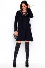 Czarna Sukienka o Kroju Litery A ze Sznurowanym Dekoltem