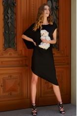 Czarna Asymetryczna Sukienka na Lato
