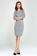 Szara Sukienka Ołówkowa z Asymetrycznym Drapowaniem