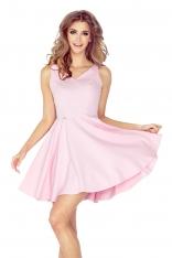 Różowa Sukienka  z Dekoltem w  Kształcie Serca