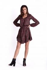 Wzorzysta Sukienka z Falbankami Przewiązana Paskiem