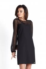 Czarna w Kropki Wizytowa Sukienka z Tiulowym Rękawem