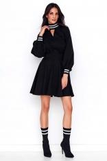 Czarna Rozkloszowana Sukienka z Czarno-Srebrnymi Ściągaczami