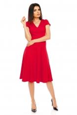 Czerwona Elegancka Rozkloszowana Sukienka z Mini Rękawkiem