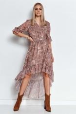 Wzorzysta Asymetryczna Sukienka z Falbankami - Wzór 19
