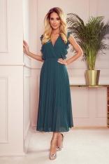 Kopertowa Sukienka Midi z Plisowanym Dołem - Zielona