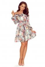 Szara Zwiewna Kobieca Sukienka z Falbankami