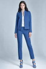 Niebieskie Eleganckie Spodnie Cygaretki z Asymetrycznym Zapięciem