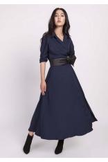 Granatowa Rozkloszowana Sukienka z Kopertowym Dekoltem