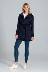 Pikowany Krótki Płaszcz z Paskiem - Granatowy