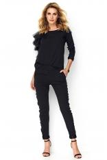 Czarny Kobiecy Komplet Bluzka z Falbankami + Spodnie z Lampasem