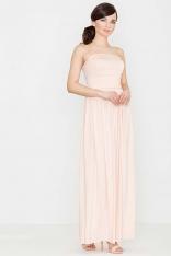 Różowa Zmysłowa Gorsetowa Maxi Sukienka