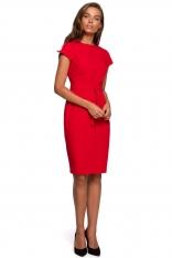 Minimalistyczna Ołówkowa Sukienka z Przeszyciami - Czerwona