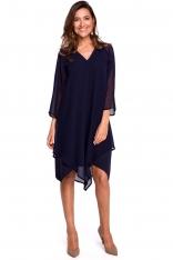 Granatowa Asymetryczna Sukienka Dwuwarstwowa z Dzwonkowym Rękawem